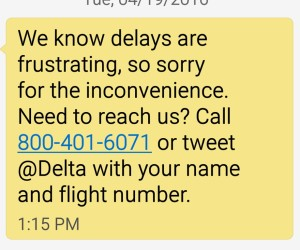 text from delta about my delay