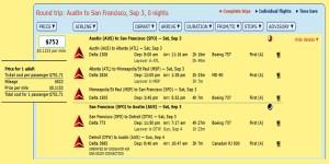 AUS-SFO MR FLight Details