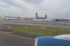 Delta 777 jfk to nrt renespoints blog review landing nrt delta 747 in view