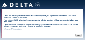 Delta Air Lines SkyMiles survey for 250 points RenesPoints blog review (2)