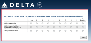 Delta Air Lines SkyMiles survey for 250 points RenesPoints blog review (7)