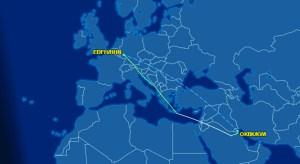 Delta Flight 8957 Santorini FLight Path Map
