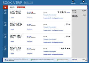 Los Angeles LAX - Dallas DFW Delta Air Lines First Class Mileage Run Aug 10 2016 Booking