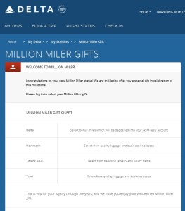 delta million miler gift choice