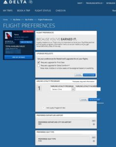 my flight preferances in delta-com