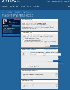my flight preferances in delta-com