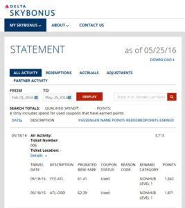 skybonus for 250 skymile tickets