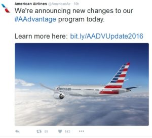 tweet from AA about program changes