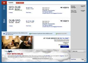 SFO-DUB Delta Fare Sale Trip Summary
