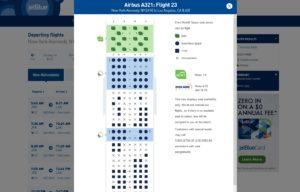 jet blue seats on web site