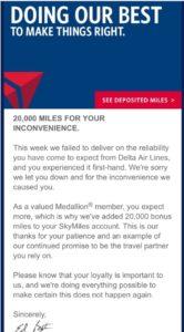 20k skymiles for delay