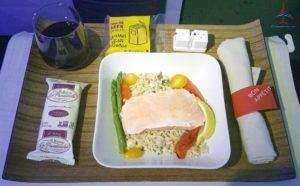 Salmon lunch cold Delta Air Lines 1st class review RenesPoints blog