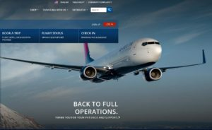 delta-com home page says back to full operations and thank you for your patience and support
