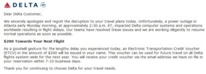 delta voucher email from the power fail canceled and delayed flights renespoints blog
