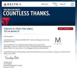 my email from delta for million miler gift choice renespoints blog