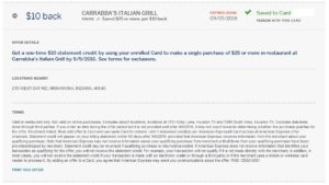 carrabbas amex offer