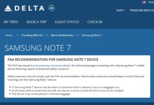 delta samsung note 7 do not use onboard notice
