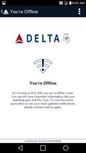 fly delta app offline mode frustrating