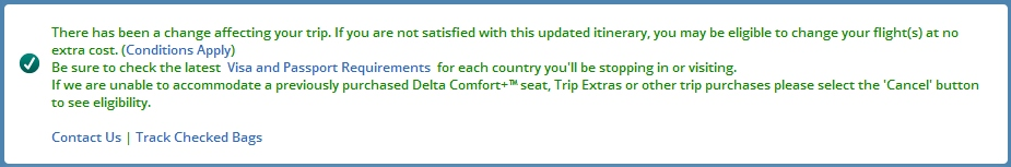 green info showing delta has made a schedule change to your flights time to check your seats renespoints blog