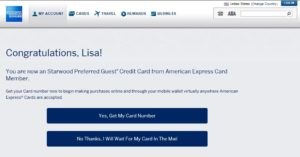 lisa gets spg personal card approved