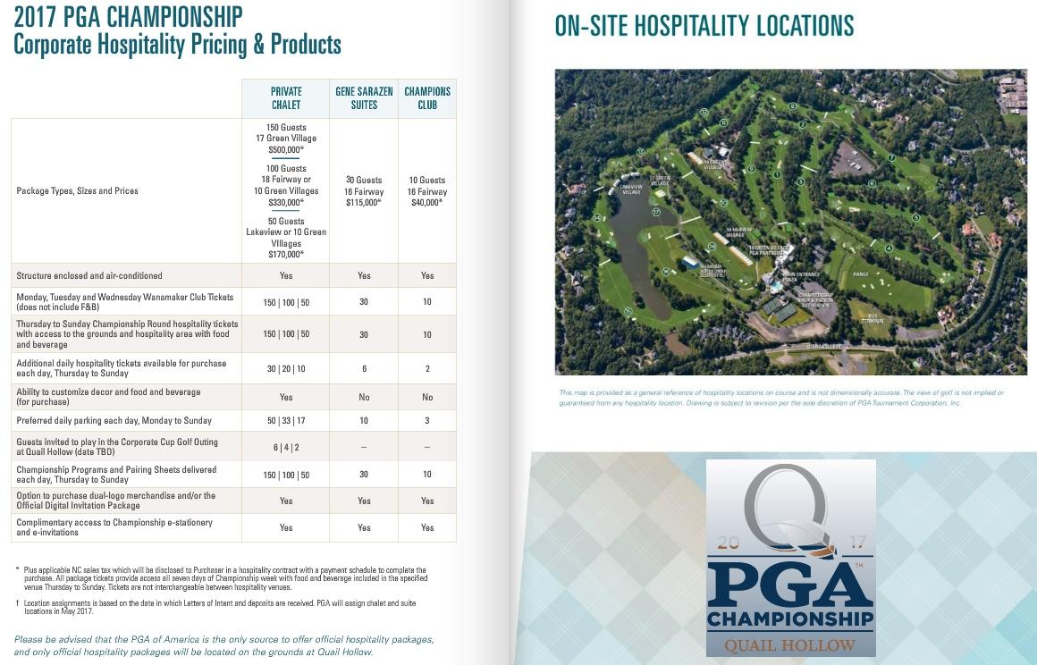 pga 2017 quail hollow hospitality suite locations