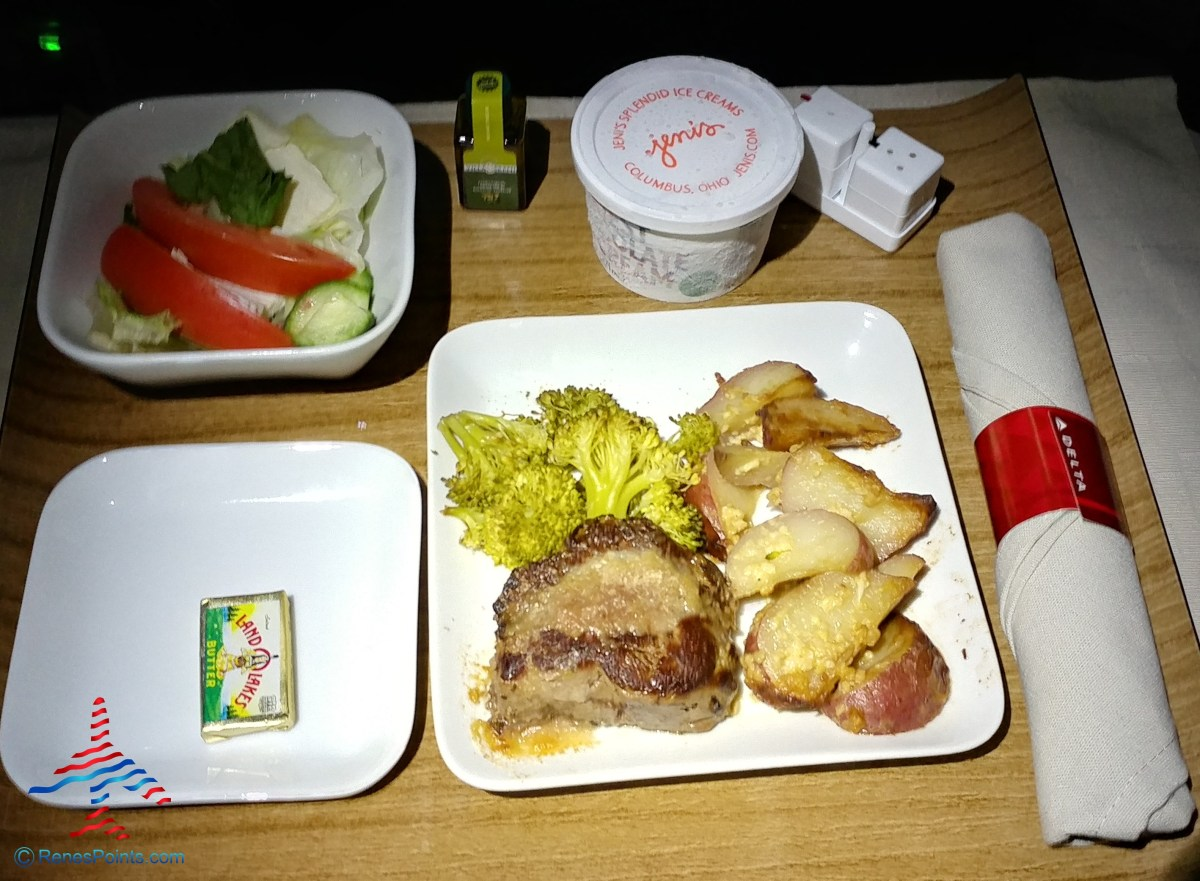 steak dinner Delta Air Lines first class RenesPoints blog