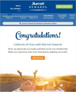 20 years as part of marriott rewards
