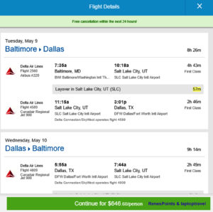 BWI - DFW Priceline Fare