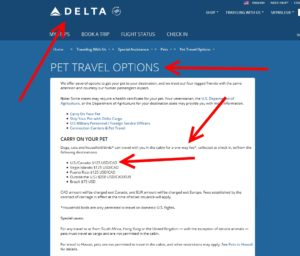 fee to bring a pet onboard delta