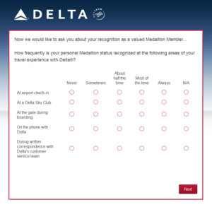 New Delta Air Lines SkyMiles survey for 250 SkyMiles - how would you vote (13)