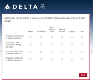 New Delta Air Lines SkyMiles survey for 250 SkyMiles - how would you vote (14)