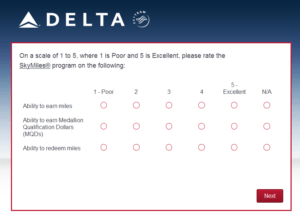New Delta Air Lines SkyMiles survey for 250 SkyMiles - how would you vote (6)