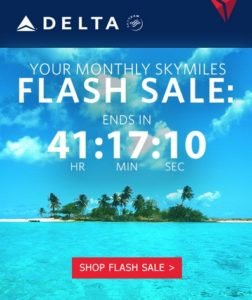 delta monthly flash sale skymiles