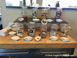 Candies and other treats are seen inside The CLUB at SJC airport lounge at Norman Y. Mineta San Jose International Airport in San Jose, California.