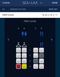 Image of a Delta first class seat map as seen on the iPhone version of the Fly Delta app.