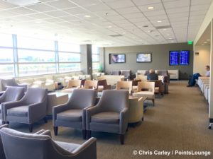 A large sitting room is seen inside The CLUB at SJC airport lounge at Norman Y. Mineta San Jose International Airport in San Jose, California.