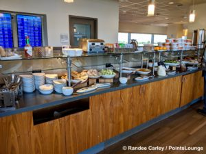 A lunch buffet is set up for guests at The CLUB at SJC airport lounge at Norman Y. Mineta San Jose International Airport in San Jose, California.