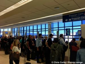Passengers stand in their Southwest Airlines boarding groups at Norman Y. Mineta San Jose SJC Airport.