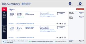 Delta Basic Economy Mileage Run: Boston (BOS) to London Heathrow (LHR)