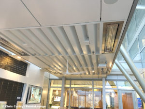Misters, heating elements, and fans are seen on the ceiling of the Sky Deck of the Delta Sky Club Austin airport lounge in Austin, Texas. Photo © Chris Carley / PointsLounge
