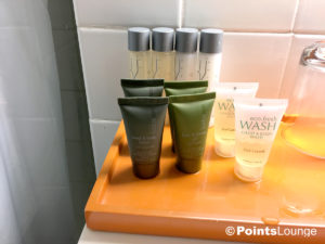 Kudos Spa and Eco.Fresh toiletries are seen in the bathroom of a room at the Stewart Hotel New York City in midtown Manhattan, NY.