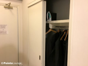 A view of the closet in a room at the Stewart Hotel New York City in midtown Manhattan, NY.