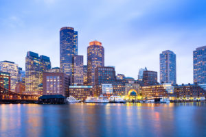 Financial District Skyline and Harbour at Dusk, Boston, Massachusetts, USA. Photo credit: © iStock.com/tifonimages