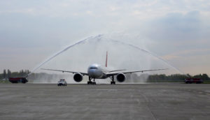 Meeting about arrival of the first flight with water salute in airport. Airport tradition (Photo: ©iStock.com/Nimdamer)