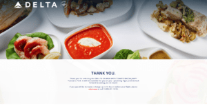 Confirmation that a Delta first class passenger has successfully pre-ordered a first class meal.