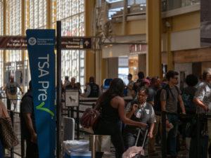 WASHINGTON, DC JULY 3, 2018: TSA Precheck and Global Entry line at security checkpoint at Reagan National Airport