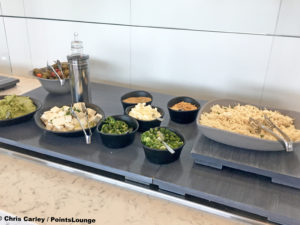Shredded chicken is seen at the United Club LAX airport lounge in Los Angeles, California. © Chris Carley / PointsLounge.