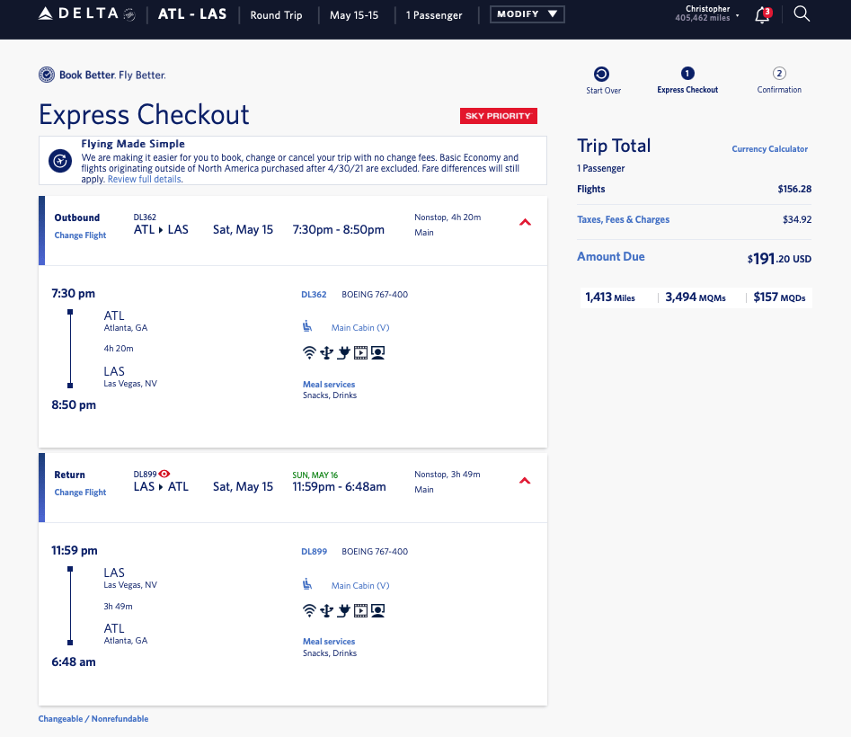 Atlanta to Las Vegas Saturday Delta Mileage Run: ~5241 MQM at 3.6 CPM in Main Cabin! [Upgrades to Lie-Flats Currently Available!] - Renés Points