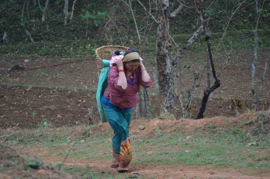 Hum Kamari walks up a hill carrying a container of water on her back in a basket.
