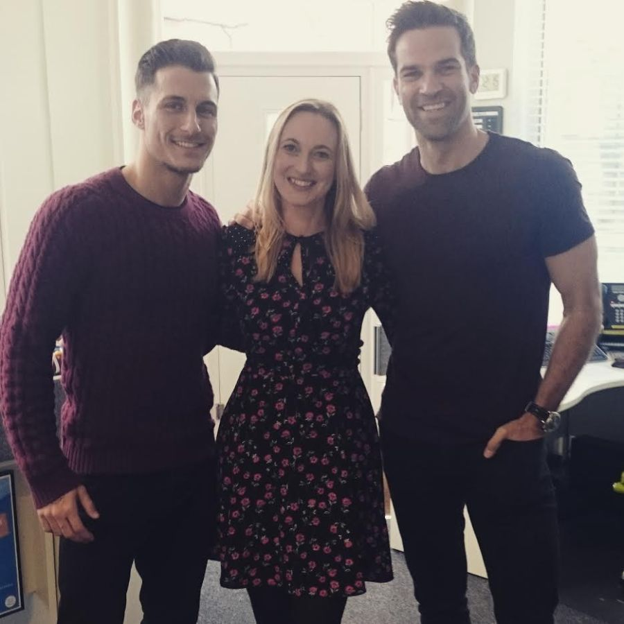 Renewable World Ambassador Gethin Jones, Renewable World Vice Chair Sarah Donnelly, and Strictly Come Dancing Star Gorka Marquez